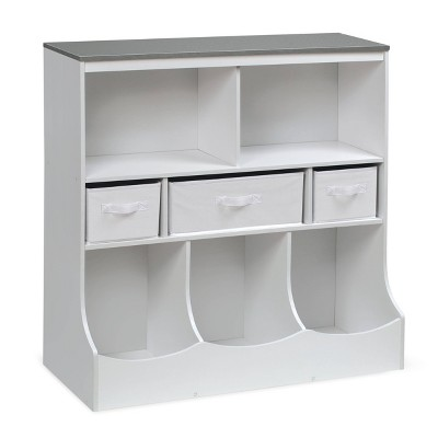 Badger Basket Combo Bin Storage Unit with 3 Baskets Solid White/ Gray
