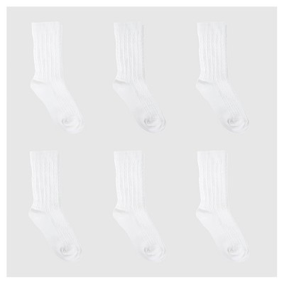 Girls' 6pk Cable Crew Socks - Cat & Jack™ White