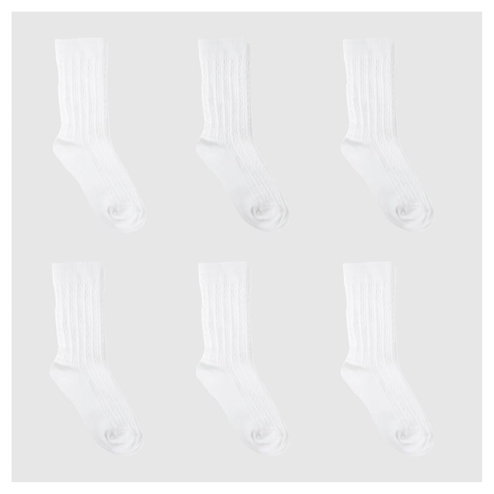 Girls 39 6pk Cable Crew Socks Cat 38 Jack 8482 White M