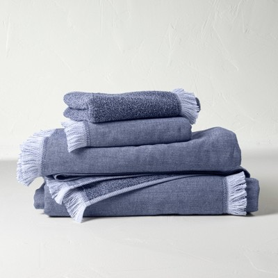4pc Decorative Flat Woven Bath Towel Set Blue - Casaluna™