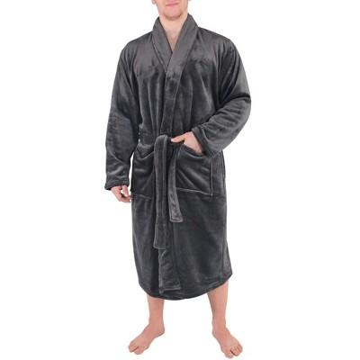 Hudson Home Collection Mens Boy Shawl Collar Plush Robe, Charcoal, Large X-Large (Lxl)