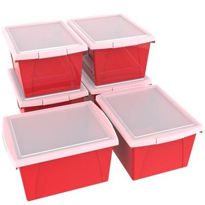 Storex 6pk 4gal Classroom Storage Bins with Lid