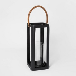 """15.7"""" x 7.2"""" Metal Lantern Pillar Candle Holder Black - Threshold™"""