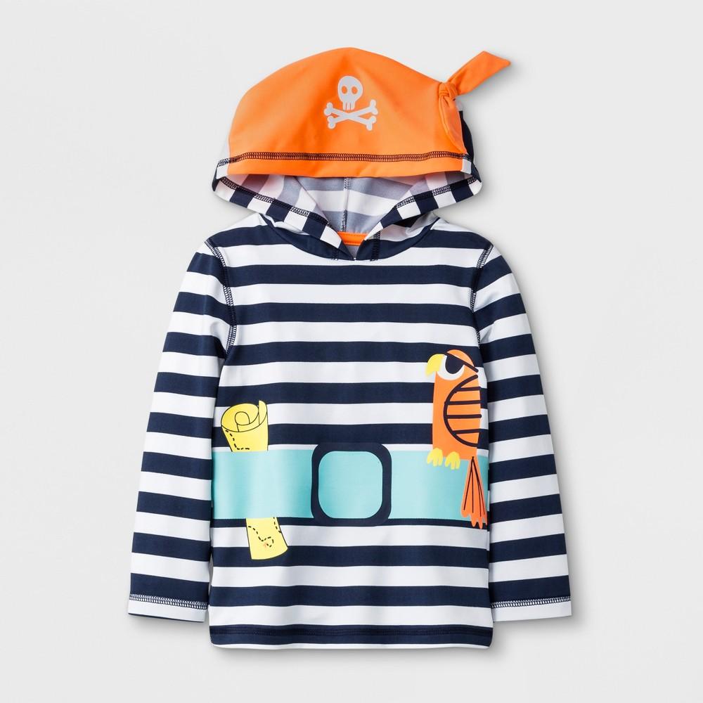 Toddler Boys' Long Sleeve Pirate Hooded Rash Guard - Cat & Jack Navy 2T, Blue