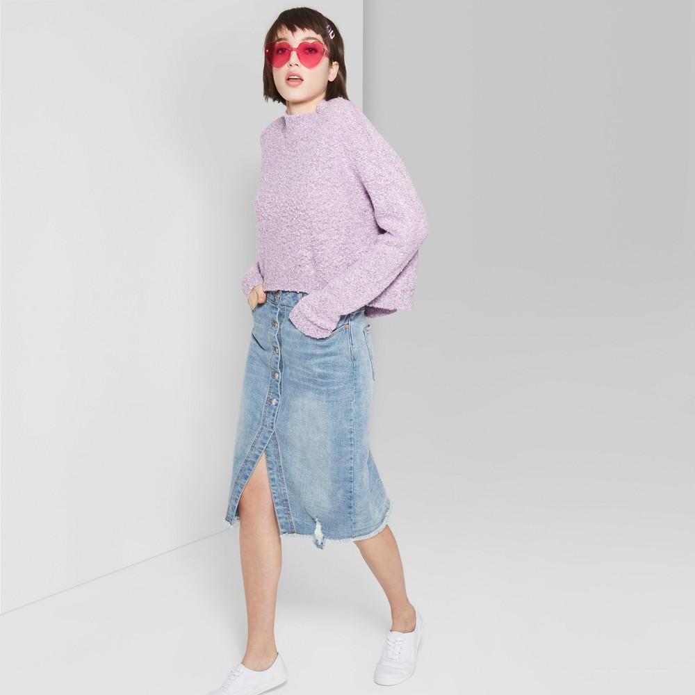 Women's Button Front Denim Midi Skirt - Wild Fable Medium Blue Wash 00