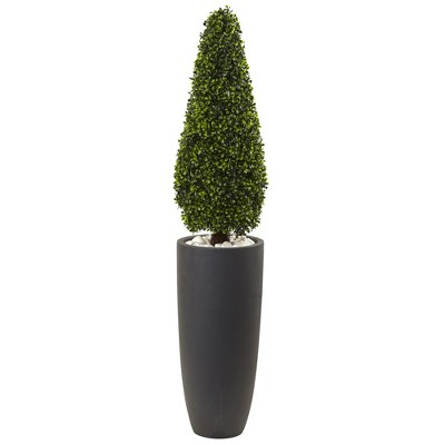 "50"" Boxwood Topiary with Gray Cylindrical Planter - Nearly Natural"