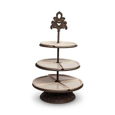 GG Collection Cream Ceramic and Acanthus Leaf Metal 3-Tiered Server