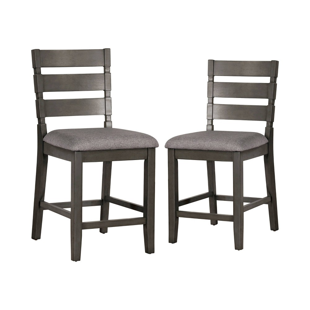 """Image of """"2pc 24.75"""""""" Ainsworth Padded Seat Counter Height Chairs - Gray/Light Gray - ioHOMES"""""""