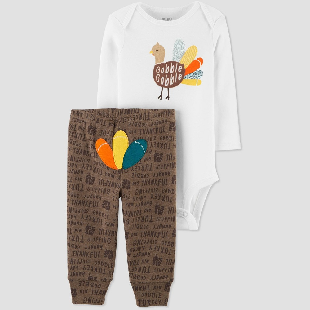 Image of Baby 2pc Turkey Top & Bottom Set - Just One You made by carter's Brown 12M, Kids Unisex