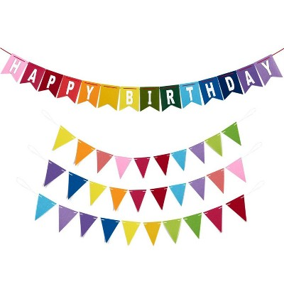 Blue Panda Set of 4 Rainbow Happy Birthday Banner & Pennant Banner Party Decorations Supplies