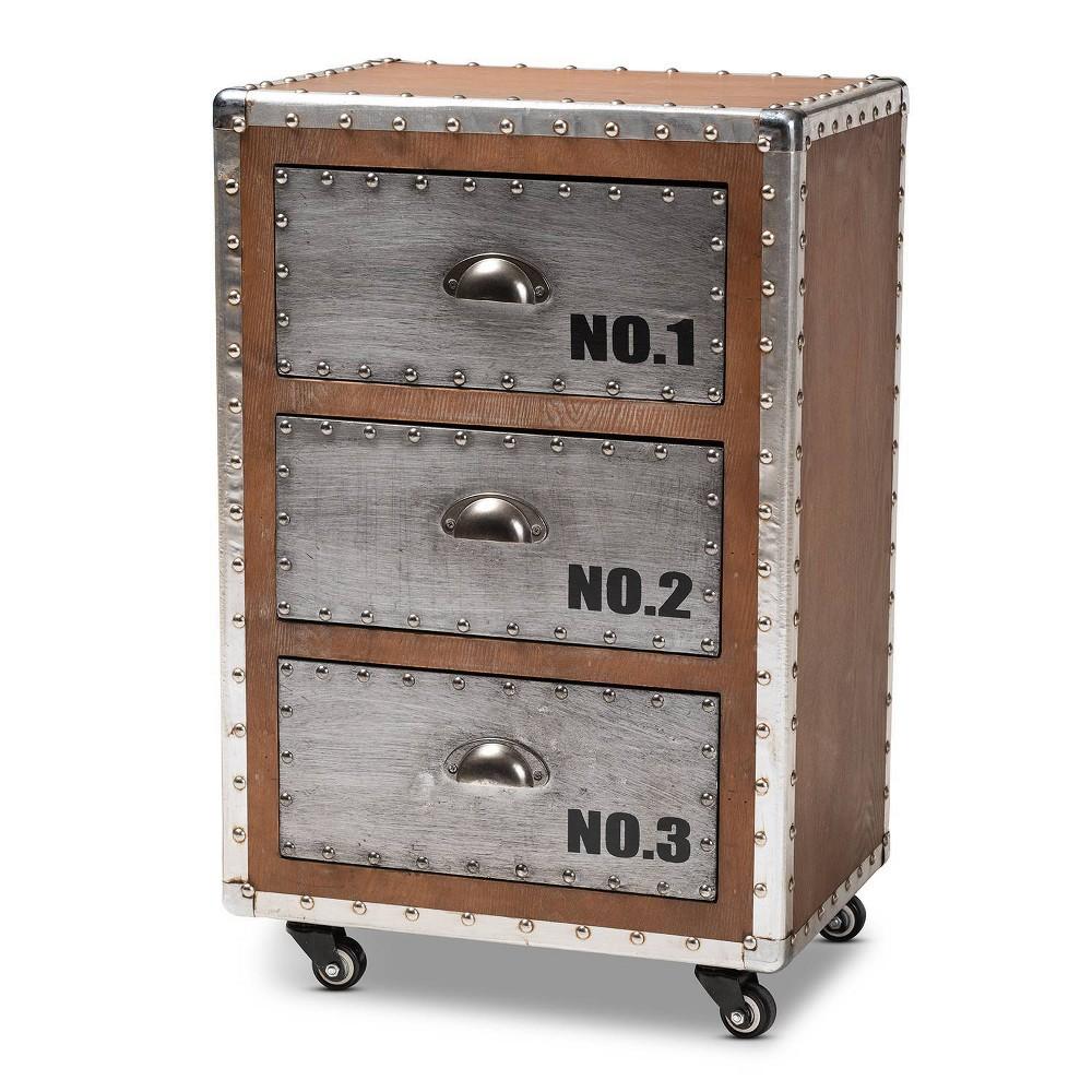 Image of 3 Drawer Avere Wood & Metal Rolling Nightstand Sliver - Baxton Studio