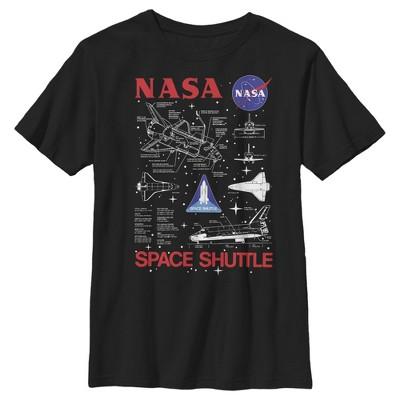 Boy's NASA Space Shuttle Schematic Details T-Shirt