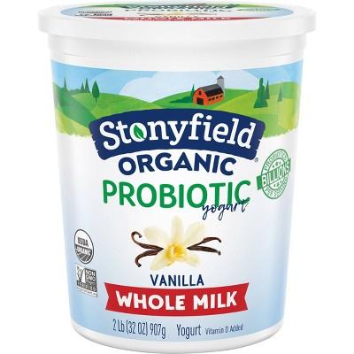 Stonyfield Organic Smooth & Creamy Whole Milk French Vanilla Greek Yogurt - 32oz