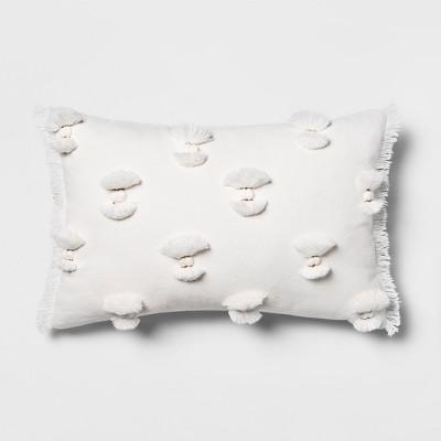 Pom Applique with Fringe Lumbar Pillow Cream - Opalhouse™