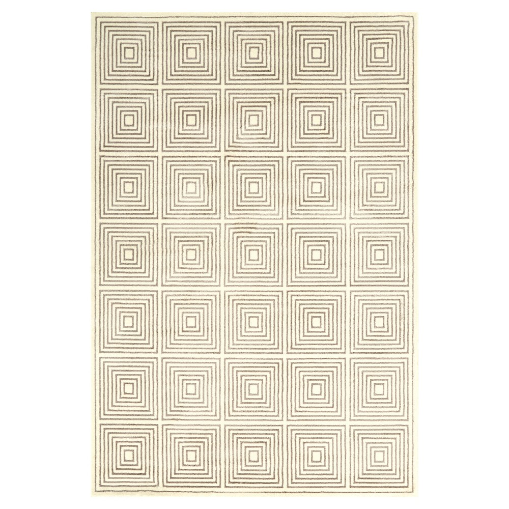 Cream/Gray (Ivory/Gray) Woven Area Rug - (7'10X11') - Room Envy