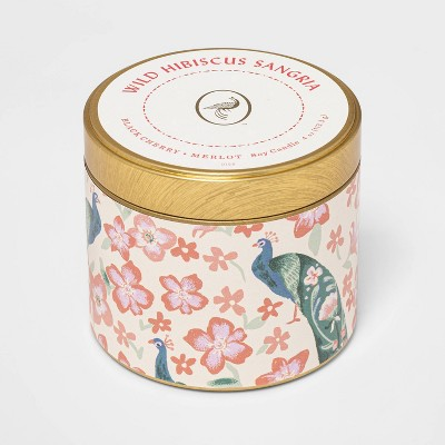 4oz Mini Patterned Tin Wild Hibiscus Sangria Candle - Opalhouse™