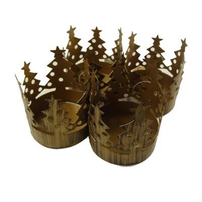 "Northlight 72ct Christmas Tree Pillar Candle Holder Set 3.75"" - Brass"