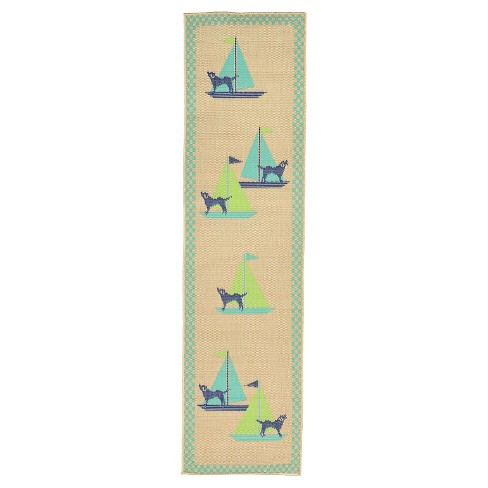 "Playa Indoor/Outdoor Sailing Dogs Cool Rug 23""X7'6"" Blue - Liora Manne - image 1 of 1"