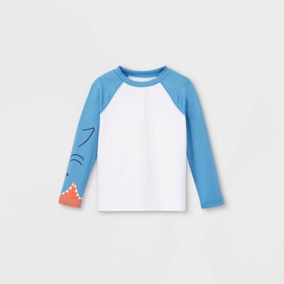 Toddler Boys' Shark Face Long Sleeve Raglan Rash Guard Swim Shirt - Cat & Jack™ Blue