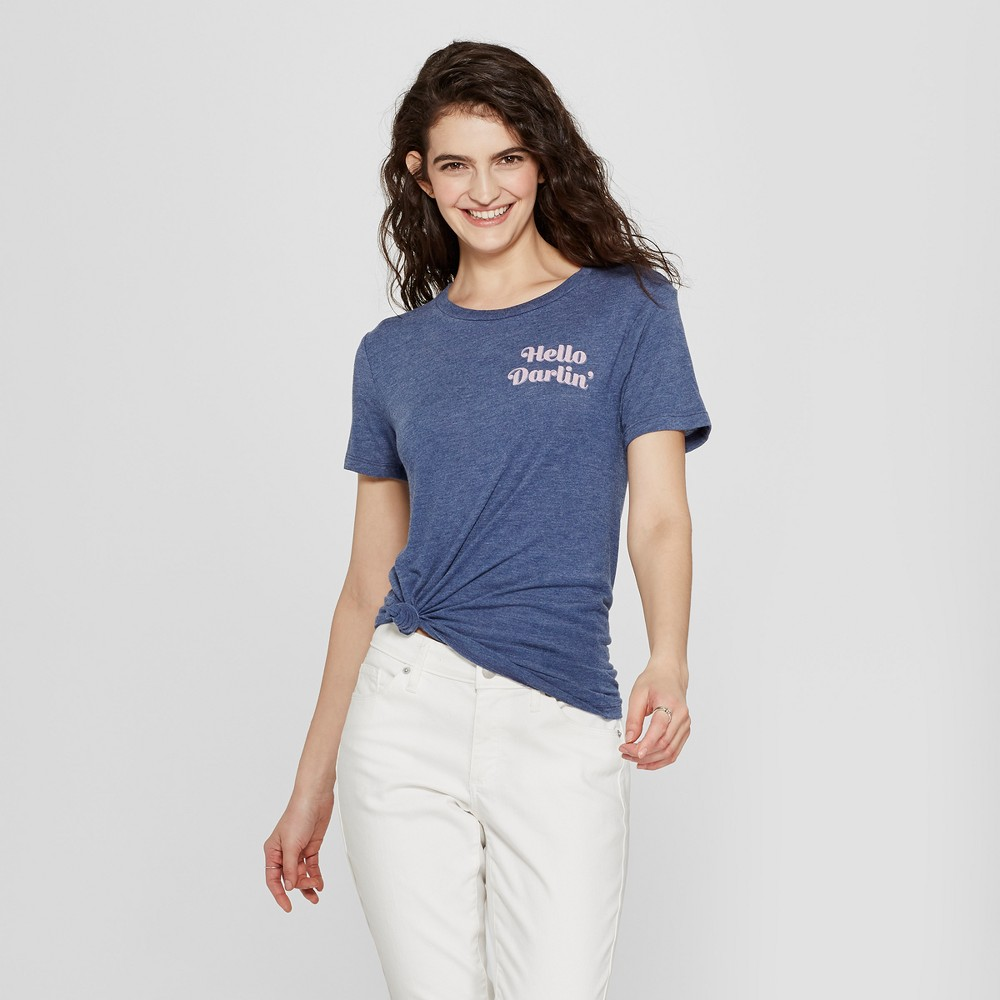 Women's Short Sleeve Hello Darlin' Graphic T-Shirt - Awake Navy XS, Blue