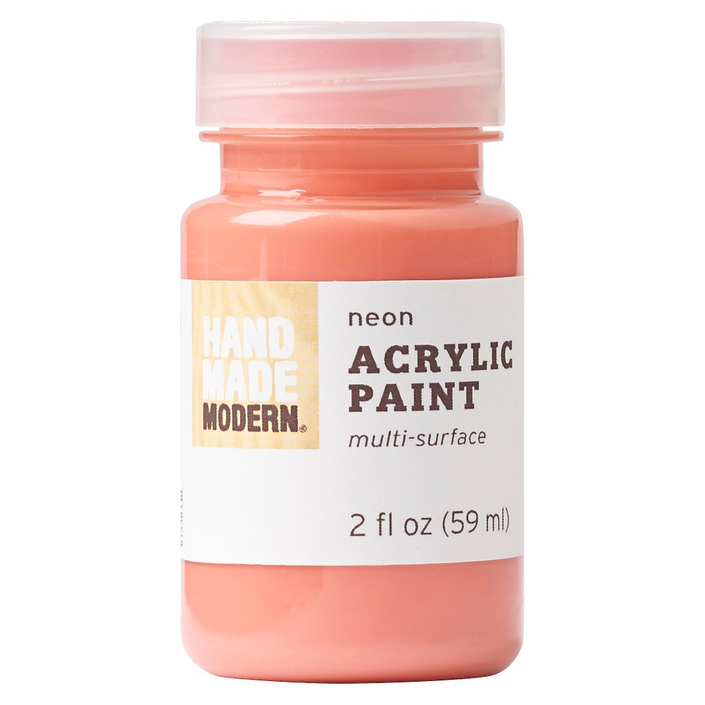 Hand Made Modern - 2oz Neon Acrylic Paint - Hot Coral