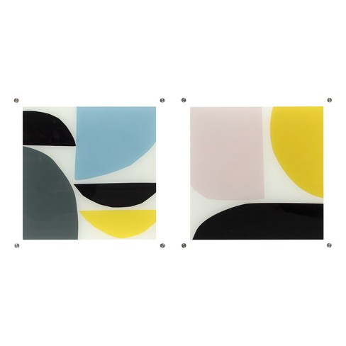 """Set of 2 14""""x14"""" Abstract Shaped Acrylic Shadowbox Decorative Wall Art - Project 62™ - image 1 of 1"""