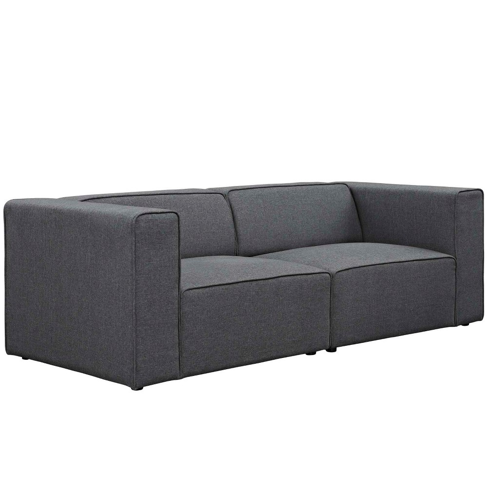 Image of 2pc Mingle Upholstered Fabric Sectional Sofa Set Gray - Modway