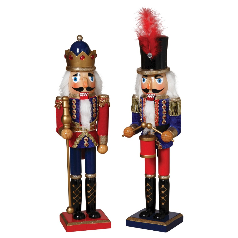 15 Traditional Nutcrackers With Feather Hat and Crown Red and Blue Set of 2