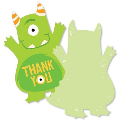 Big Dot of Happiness Monster Bash - Shaped Thank You Cards - Little Monster Birthday Party or Baby Shower Thank You Cards with Envelopes - Set of 12