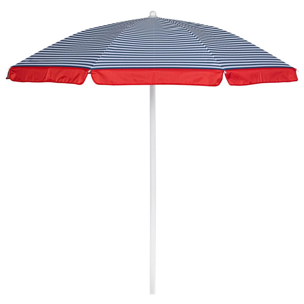 Picnic Time 5 5 39 Beach Umbrella With Pinstripe Pattern Blue