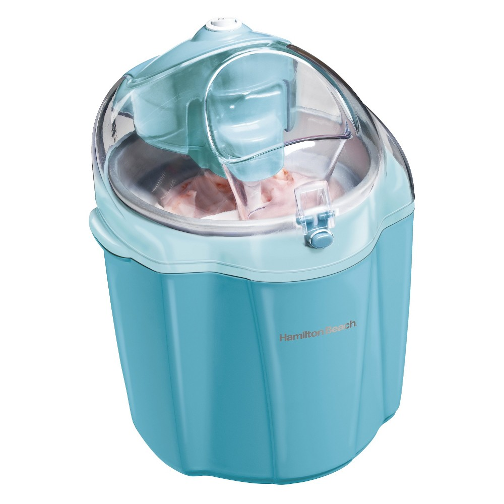 Hamilton Beach 1.5 Qt Electric Ice Cream Maker - Blue 68322 Beat the heat or treat your sweet tooth with this Electric Ice Cream Maker from Hamilton Beach. You can enjoy creating homemade ice cream, frozen yogurt, sherbet and gelato in your kitchen with this 1.5-quart ice cream maker. It's easy to use and comes with a recipe book that helps you make a variety of delectable treats at home with the ingredients of your preference. With a large ingredient opening on top that easily lets you add in your favorite treats and a canister that fits in the freezer, this ice cream and yogurt maker is a great addition to your dessert making arsenal.