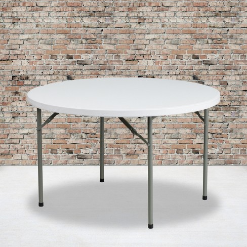 Flash Furniture 4-Foot Round Granite White Plastic Folding Table - image 1 of 4
