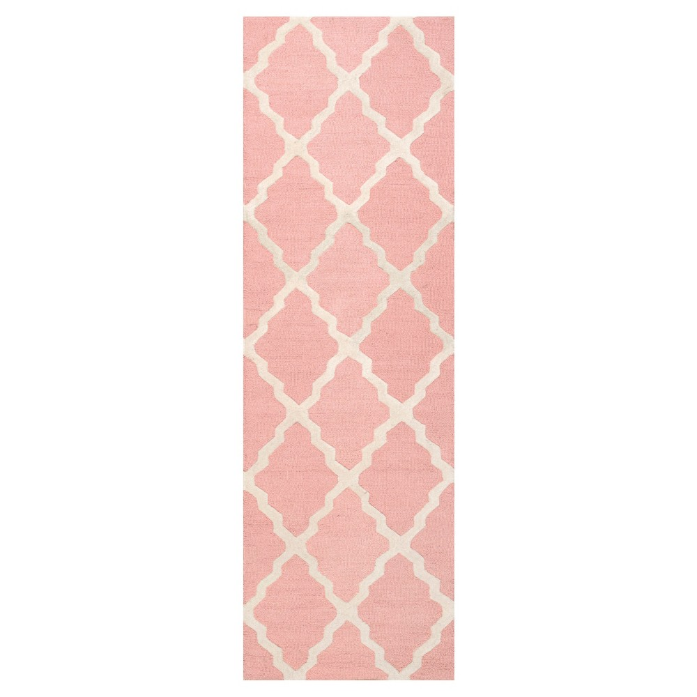 Pink Solid Hooked Runner - (2'6x8') - nuLOOM, Baby Pink