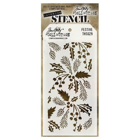 "Tim Holtz Layered Stencil Festive-White 4.125""x8.5"" - image 1 of 2"