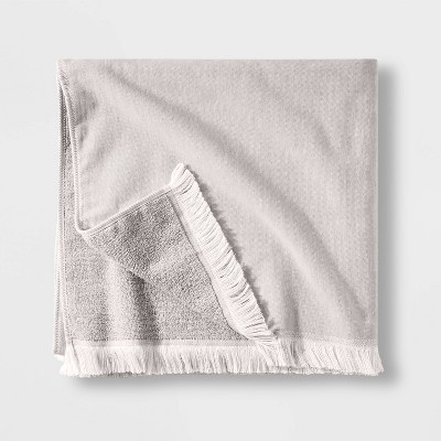 Flat Weave Bath Towel Gray - Casaluna™