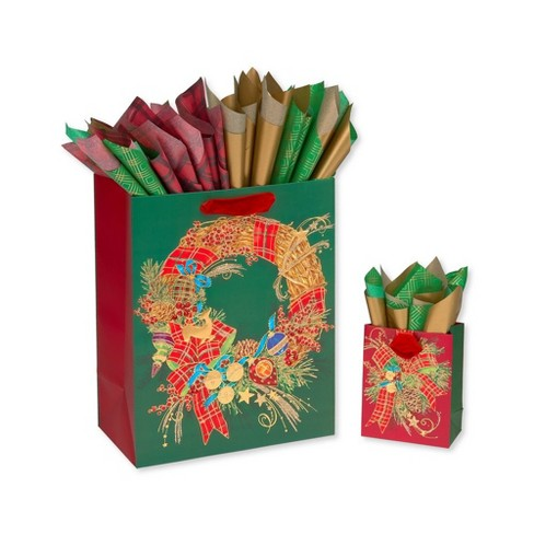 2ct Christmas Classic Gift Bag With Tissue Paper