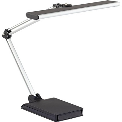 360 Lighting Modern Desk Lamp with USB Port and Phone Cradle Metallic Black and Silver Adjustable Swivel LED for Bedroom Office