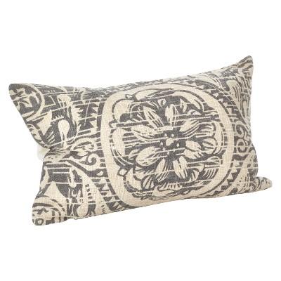Gray Montpellier Floral Design Throw Pillow (14 x23 )- Saro Lifestyle®
