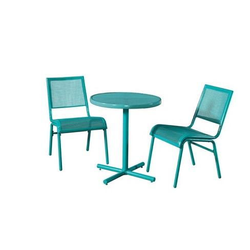 Pleasant Liberty Garden Bixby 3 Piece Bistro Set For Outdoor Patio Space Turquoise Home Interior And Landscaping Staixmapetitesourisinfo