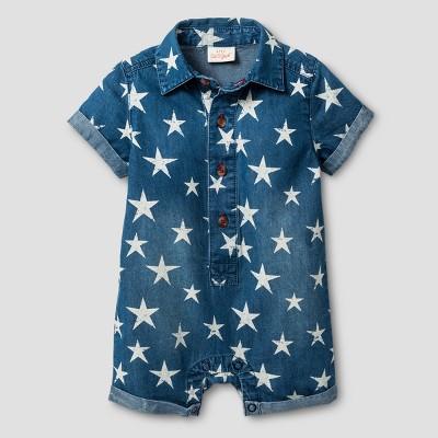 Baby Boys' Star Print Denim Romper - Cat & Jack™ Medium Wash