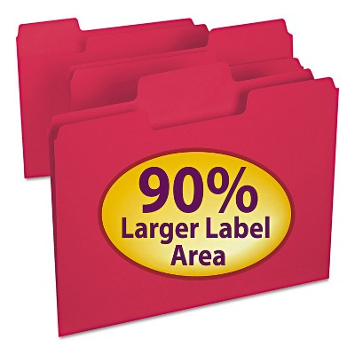 Smead SuperTab Colored File Folders 1/3 Cut Letter Red 100/Box 11983