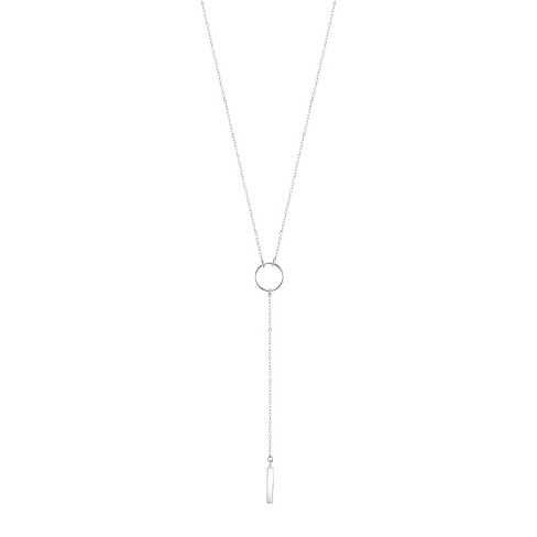 """Women's Sterling Silver Open Circle and Bar Y Necklace - Silver (21"""") - image 1 of 2"""