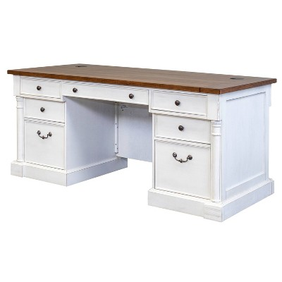 "66"" Durham Double Pedestal Executive Desk White - Martin Furniture"