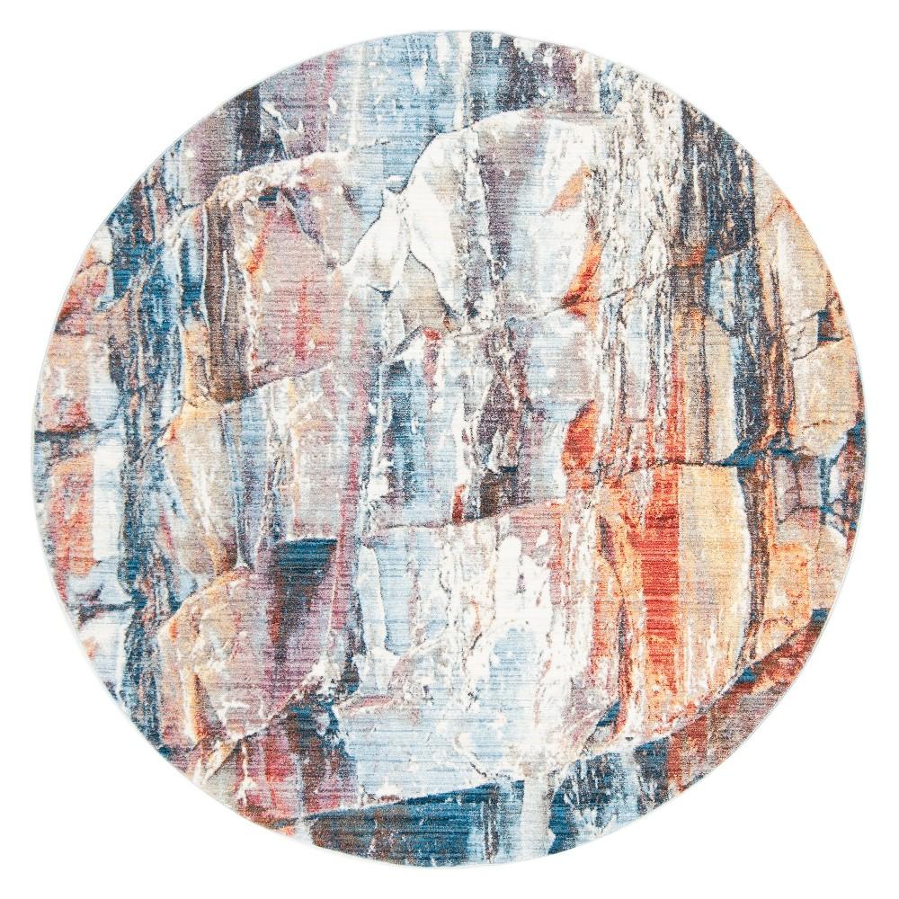 7' Marble Round Area Rug Red - Safavieh