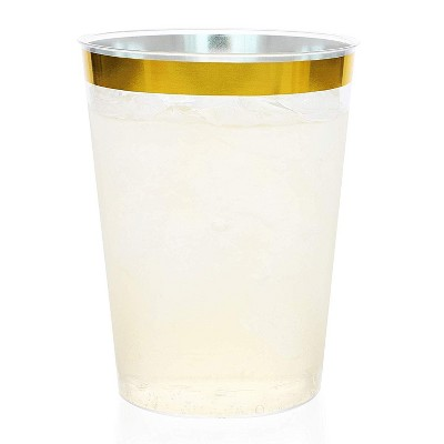 Juvale 50-Pack Gold Rimmed Disposable Plastic Cups BPA Free 10 Ounce Tumblers