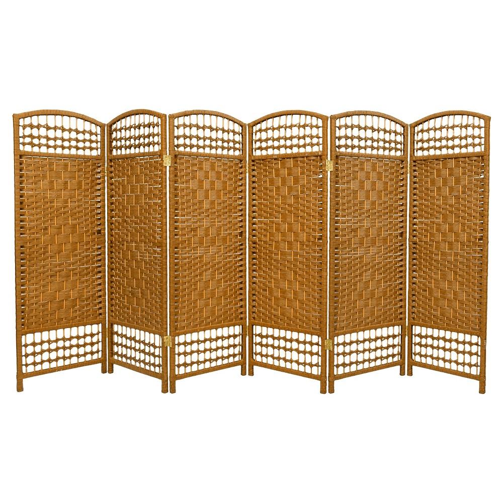 Image of 4 ft. Tall Fiber Weave Room Divider - Light Beige (6 Panels) - Oriental Furniture