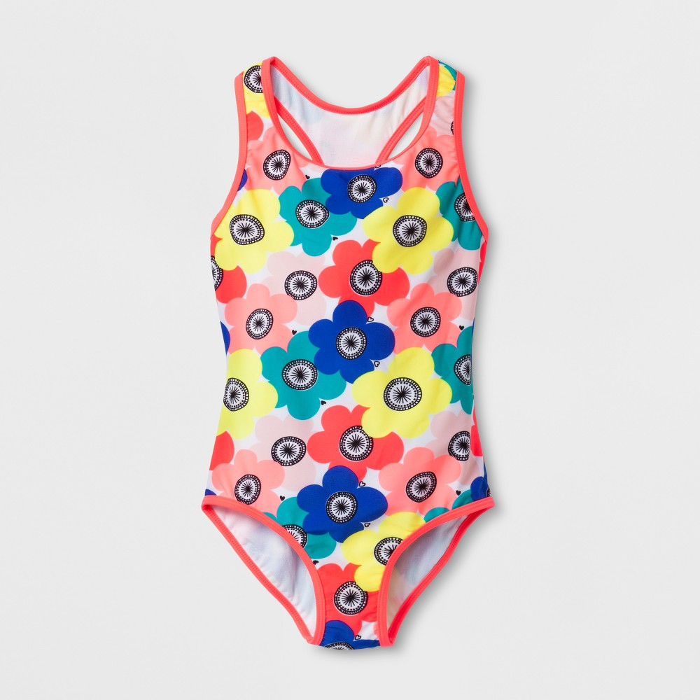 Girls' Floral One Piece Swimsuit - Cat & Jack Pink XS