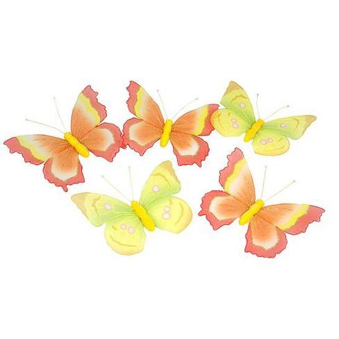 "CMI 6' x 15"" Yellow/Orange Glittered Mesh Butterfly Christmas Garland - image 1 of 1"