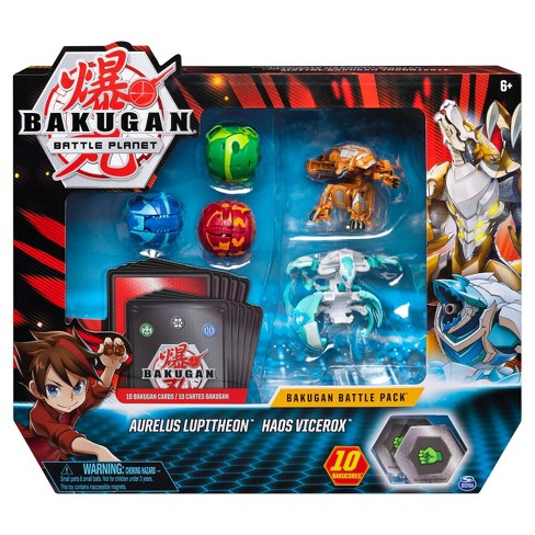 Bakugan Battle Pack 5-Pack Aurelus Lupitheon and Haos Vicerox Collectible Cards and Figures - image 1 of 4