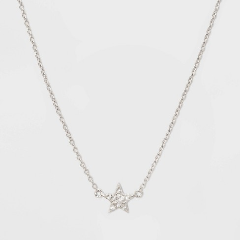 Sterling Silver Pave Cubic Zirconia Star Chain Necklace - A New Day™ Silver/Clear - image 1 of 2